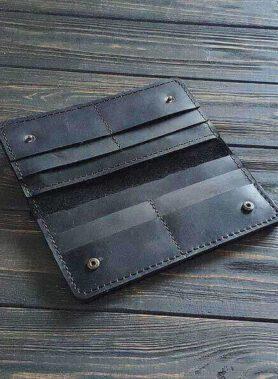 Чорне портмоне primal classic з індивідуальним гравіруванням по фото, тексті або лого2