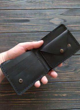 Чорний гаманець з монетницею, модель primal mini, та з безкоштовним гравіруванням2