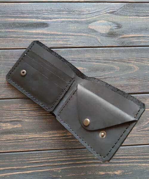 Чорний гаманець з монетницею, модель primal mini, та з безкоштовним гравіруванням3