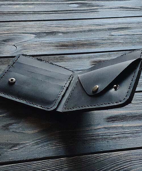 Чорний гаманець з монетницею, модель primal mini, та з безкоштовним гравіруванням4