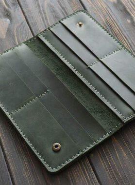 Primal classic портмоне ручної роботи з індивідуальним гравіруванням по фото, зображенню або текстове зеленого кольору2