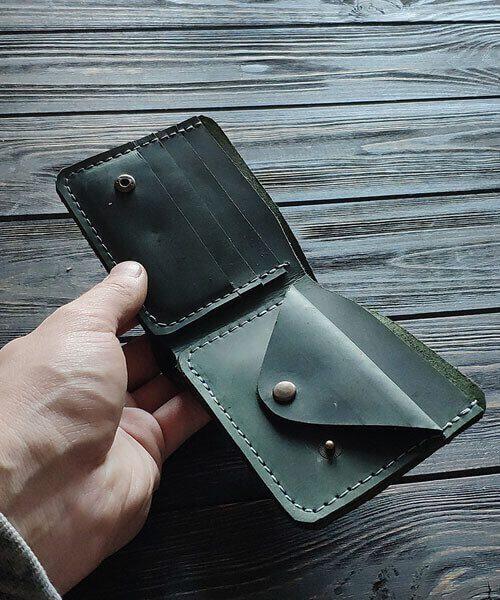Зелений гаманець primal mini з монетницею і безкоштовним гравіруванням3